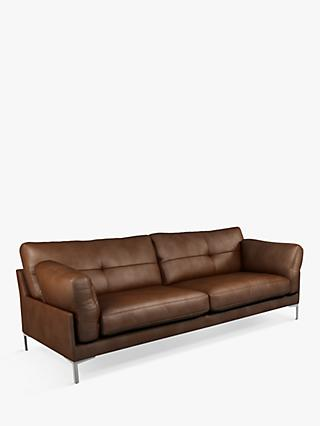 John Lewis & Partners Java II Grand 4 Seater Leather Sofa, Metal Leg