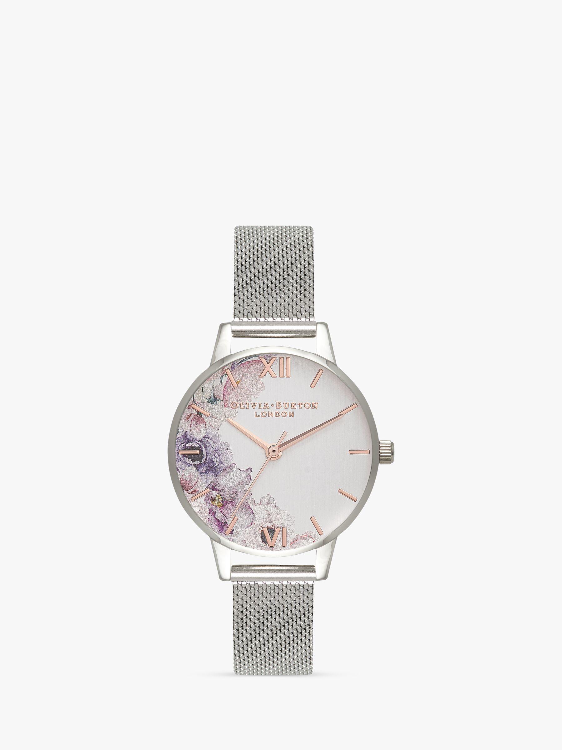 Olivia Burton Olivia Burton OB16PP37 Women's Watercolour Florals Mesh Bracelet Strap Watch, Silver/Multi
