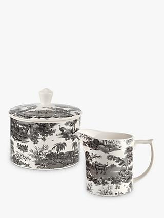 Spode Zoological Gardens Milk Jug & Sugar Bowl Set, 290ml, Monochrome