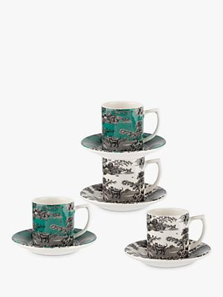 Spode Zoological Gardens Espresso Cup & Saucer, Set of 4, 80ml, Monochrome/Turquoise