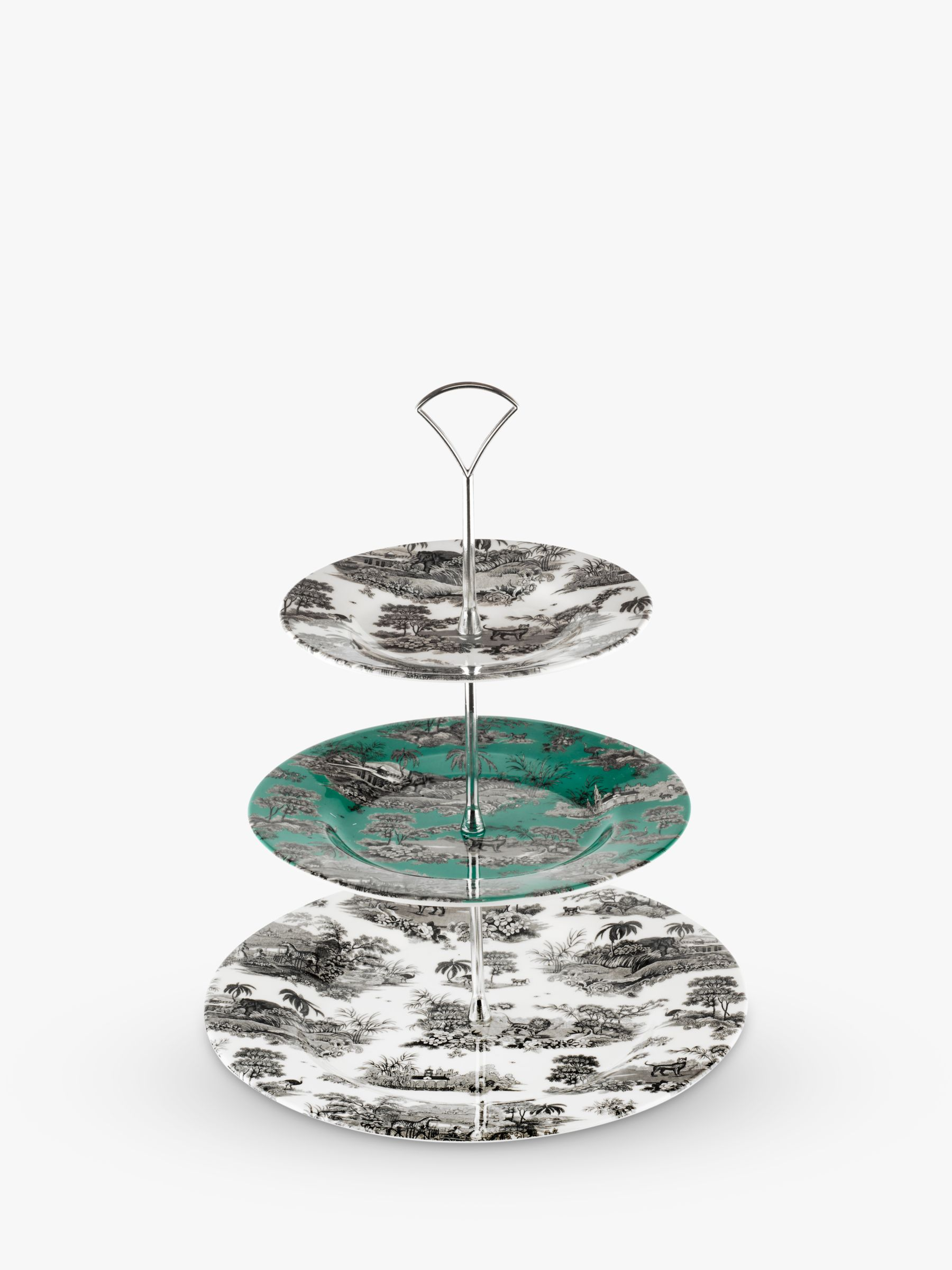 Spode Zoological Gardens 3-Tier Cake Stand, Monochrome/Turquoise