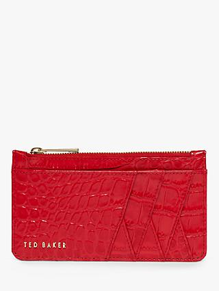 Ted Baker Avvvah Croc Print Leather Zip Card Holder