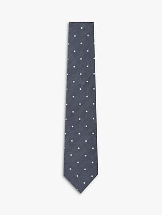 Hackett London Cotton Linen Dot Tie, Navy