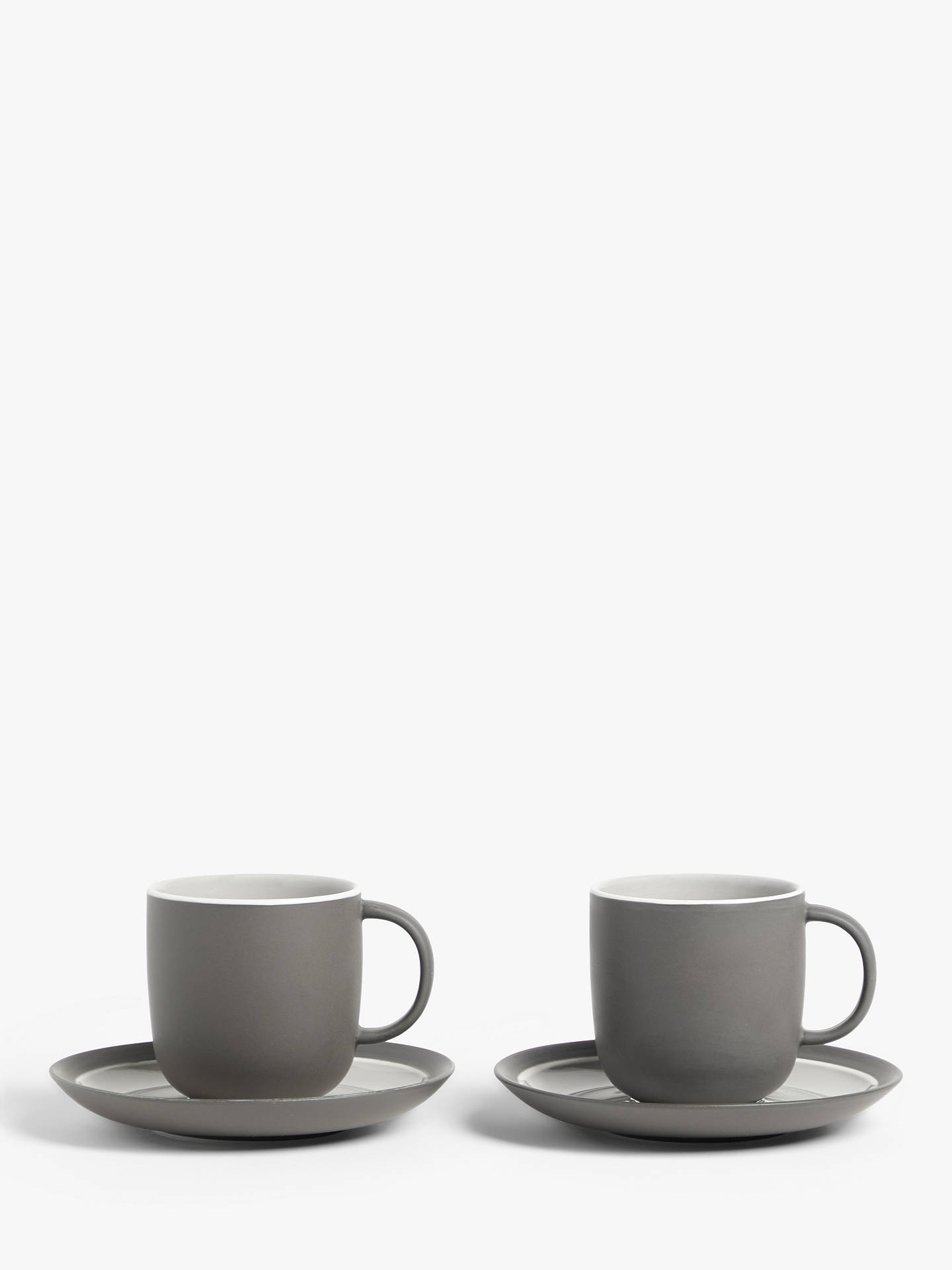 Buy John Lewis & Partners Puritan Cup & Saucer, Set of 2, 250ml, Dark Grey Online at johnlewis.com