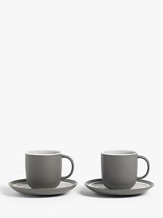 John Lewis & Partners Puritan Cup & Saucer, Set of 2, 250ml