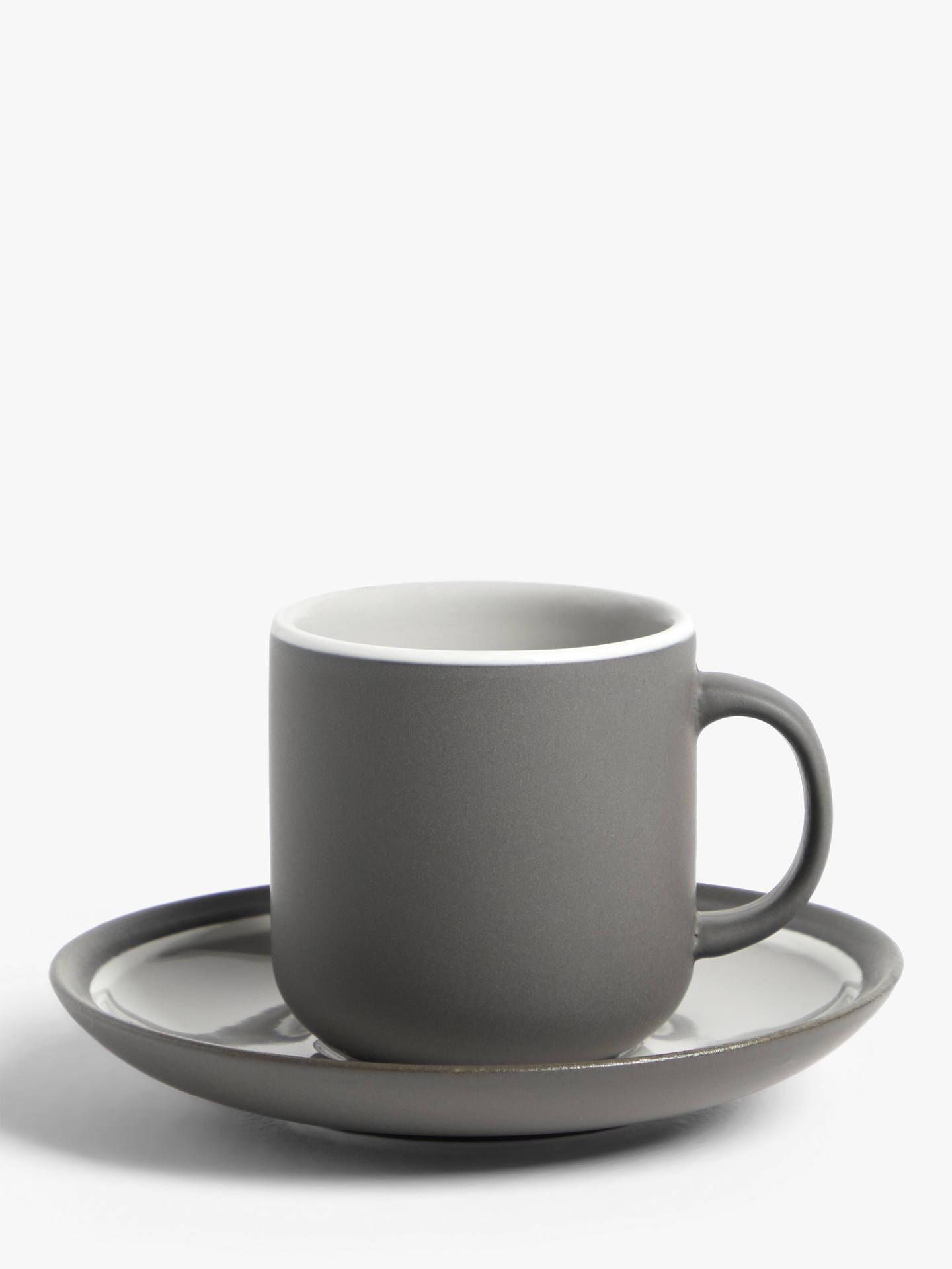 John Lewis & Partners Puritan Espresso Cup & Saucer, Set of 2, 90ml, Dark Grey