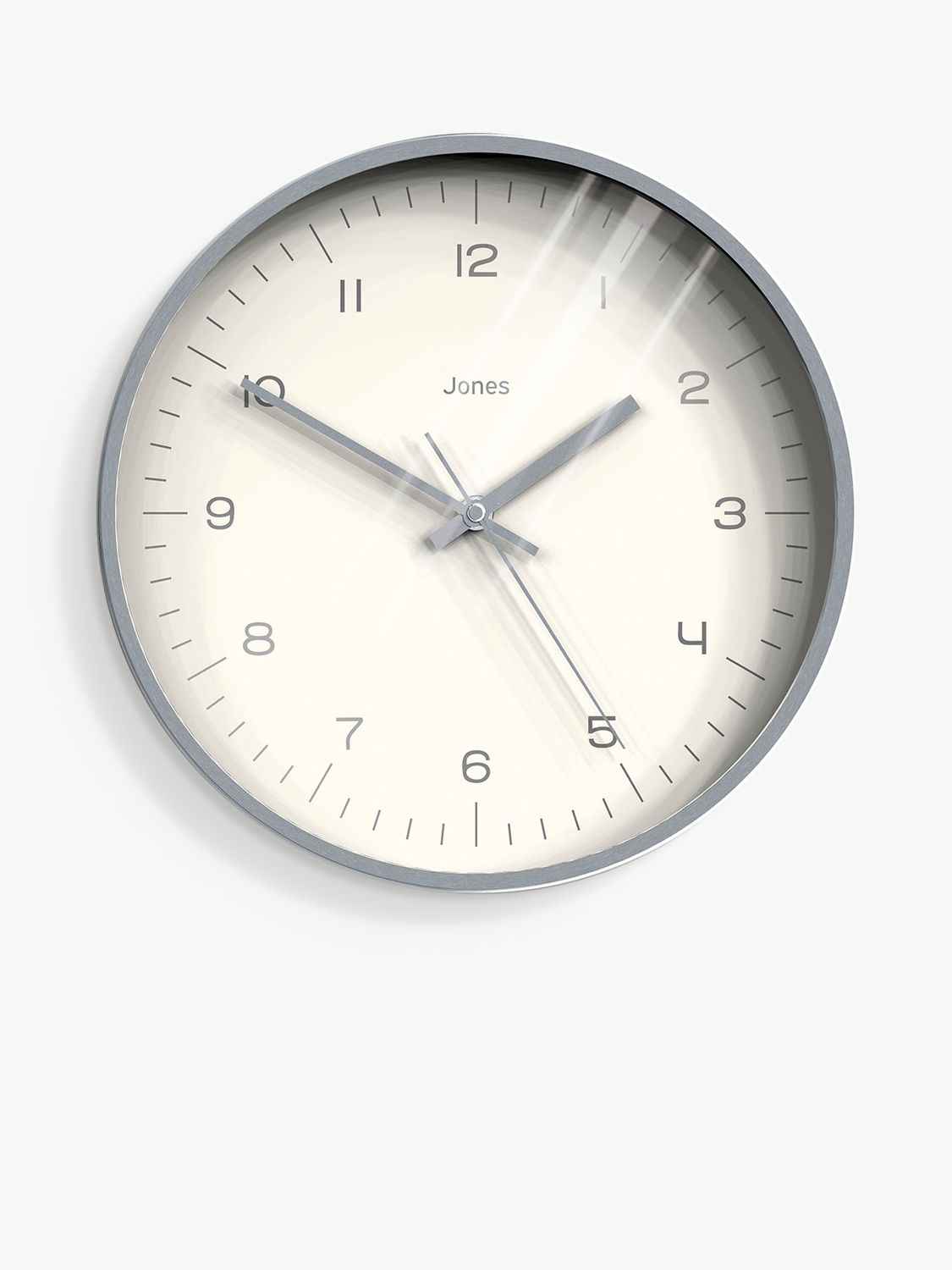 Jones Clocks Jones Clocks Fame Wall Clock, 30cm, Brushed Silver