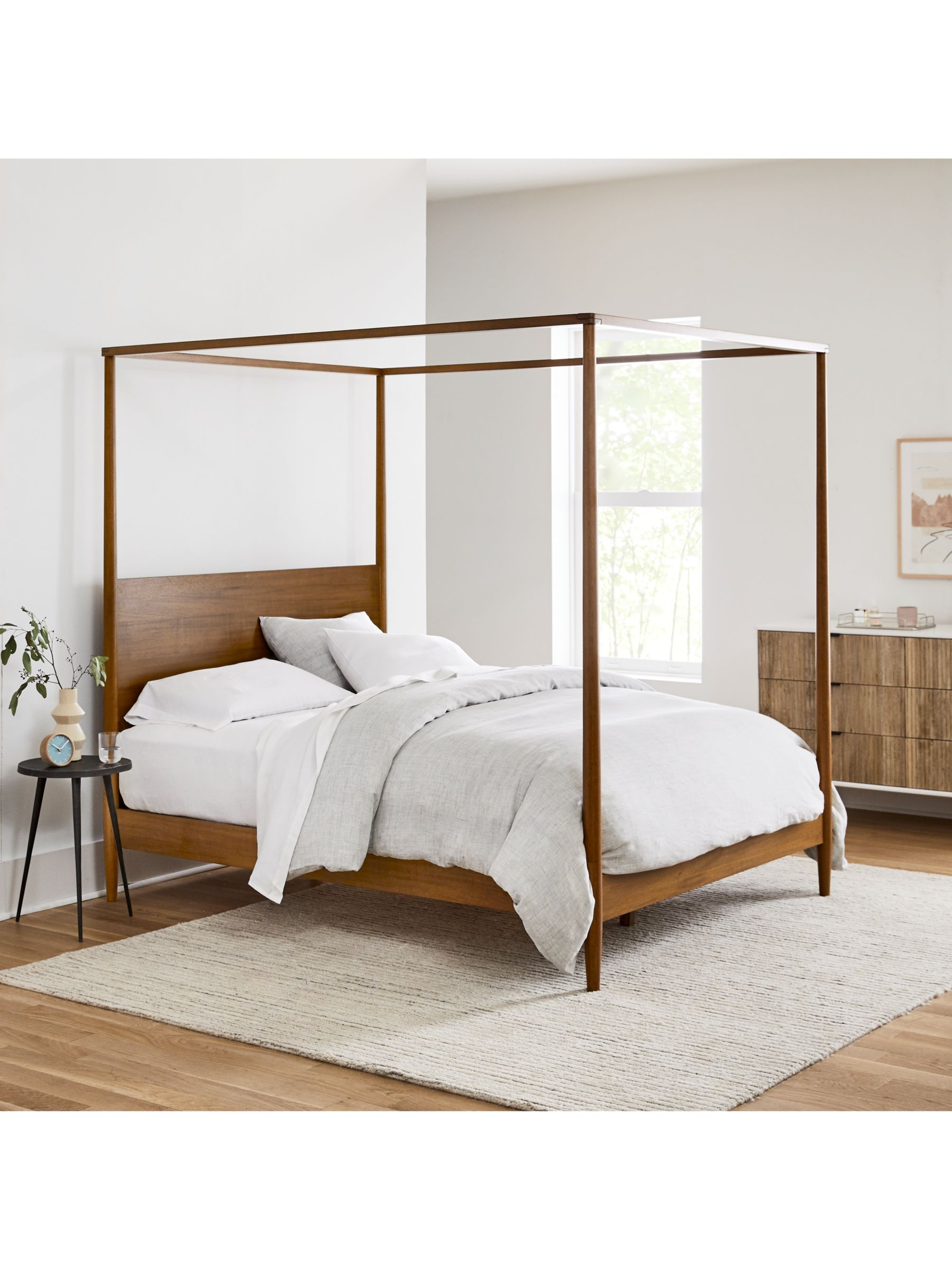 West Elm Mid Century Canopy Bed Frame King Size Fsc Certified Eucalyptus Acorn At John Lewis Partners