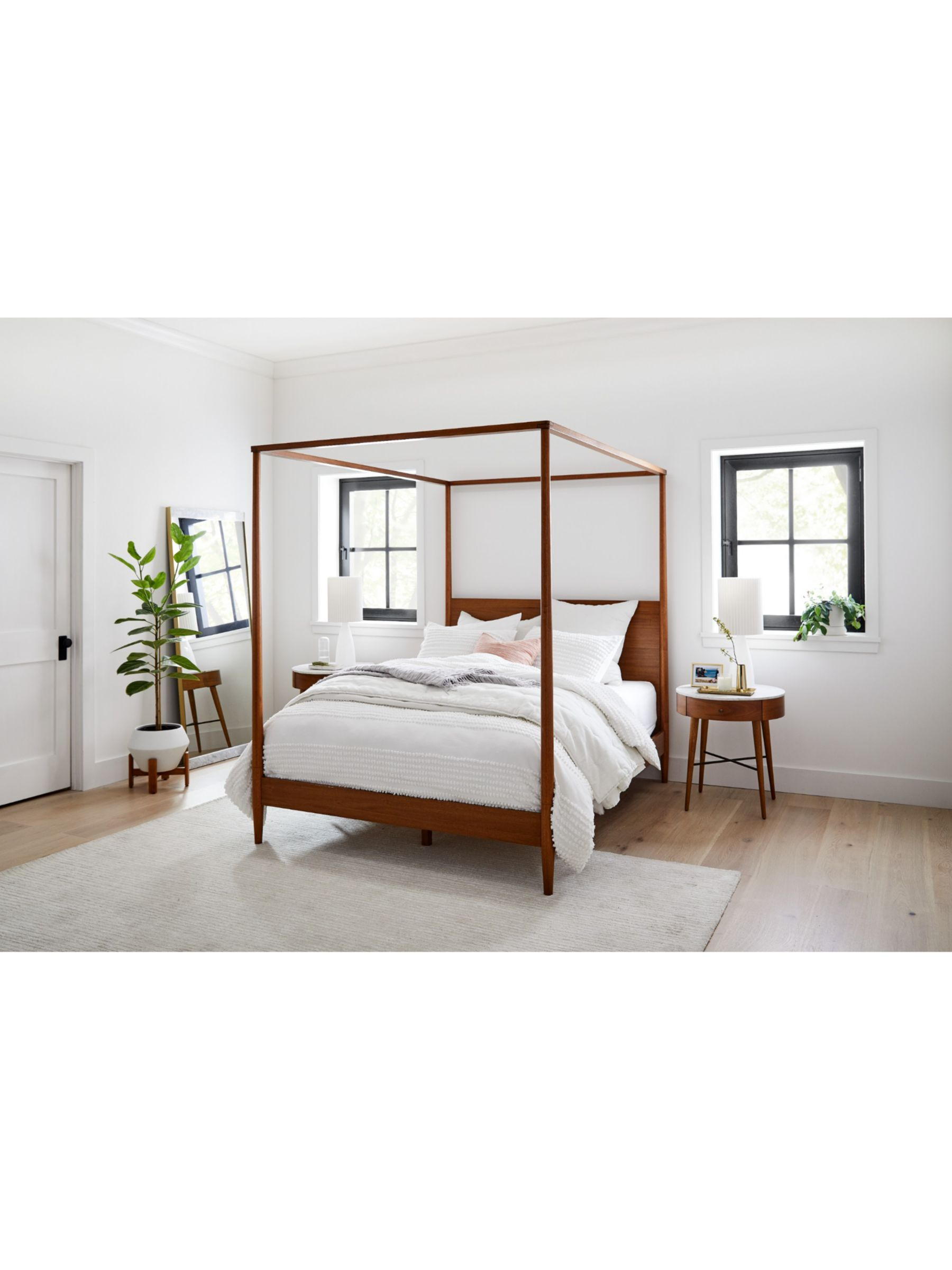 Picture of: West Elm Mid Century Canopy Bed Frame King Size Fsc Certified Eucalyptus Acorn At John Lewis Partners