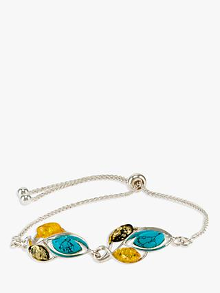 Be-Jewelled Amber and Turquoise Slider Chain Bracelet, Silver/Multi