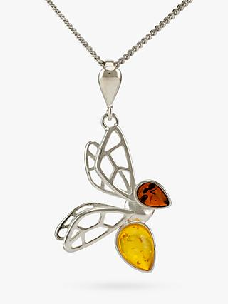 Be-Jewelled Amber Bee Pendant Necklace, Silver/Multi