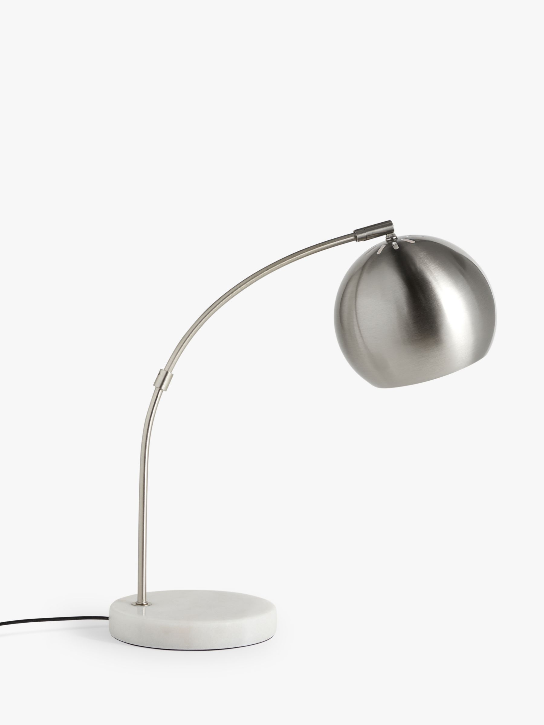 John Lewis & Partners Hector Table Lamp, Satin Nickel/White