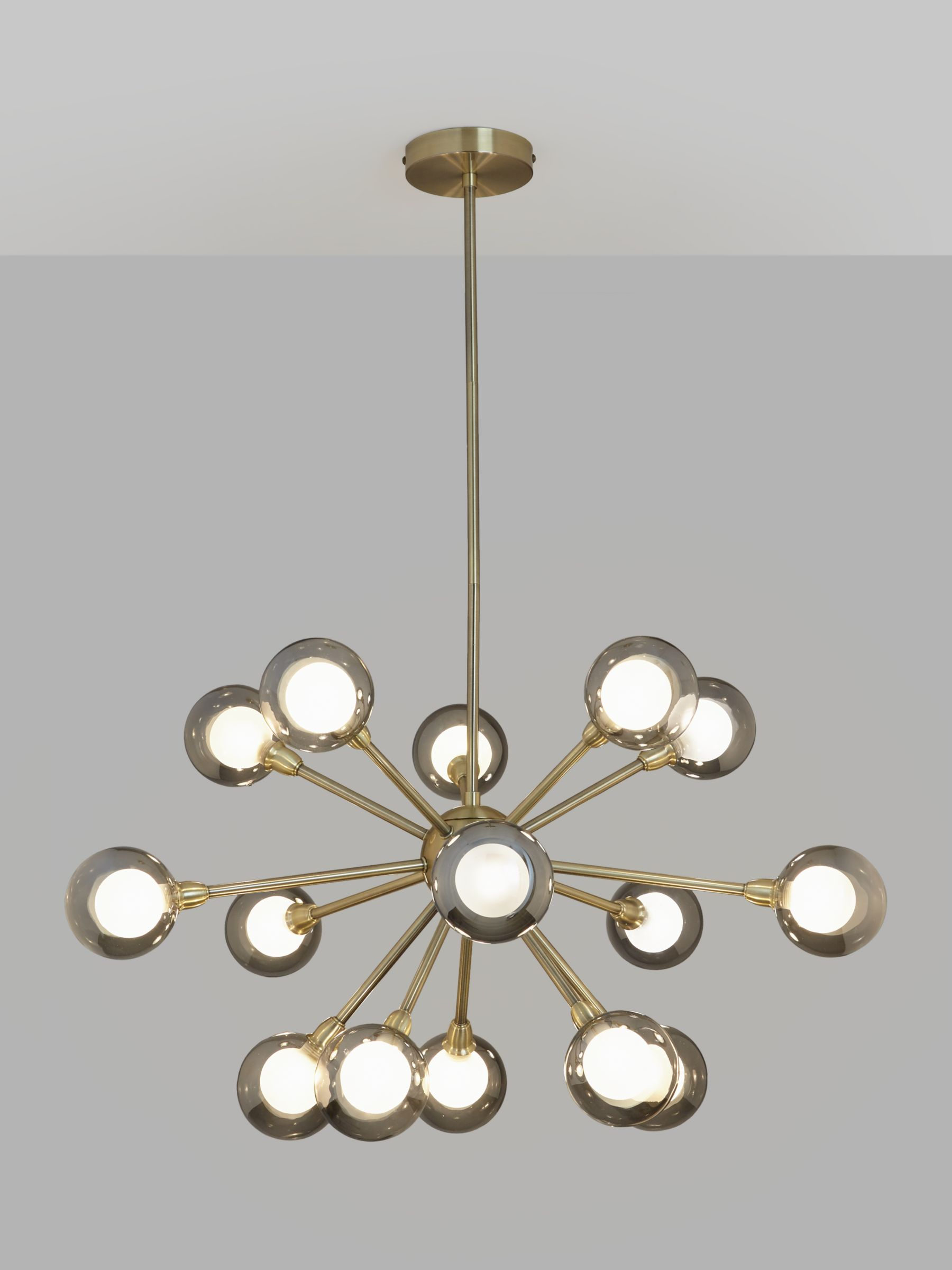 John Lewis Partners Huxley Chandelier Ceiling Light Smoke Antique Brass At John Lewis Partners