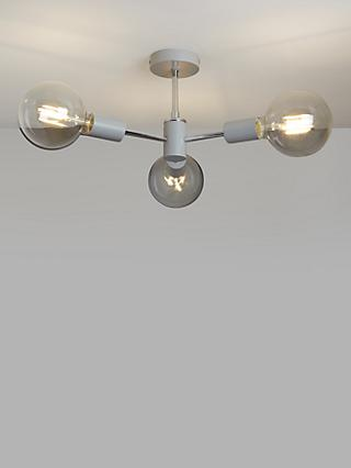 House by John Lewis Spoke 3 Arm Semi Flush Ceiling Light
