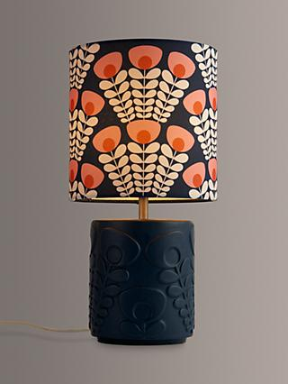 Orla Kiely Pink Stem Ceramic Table Lamp, Navy/Pink