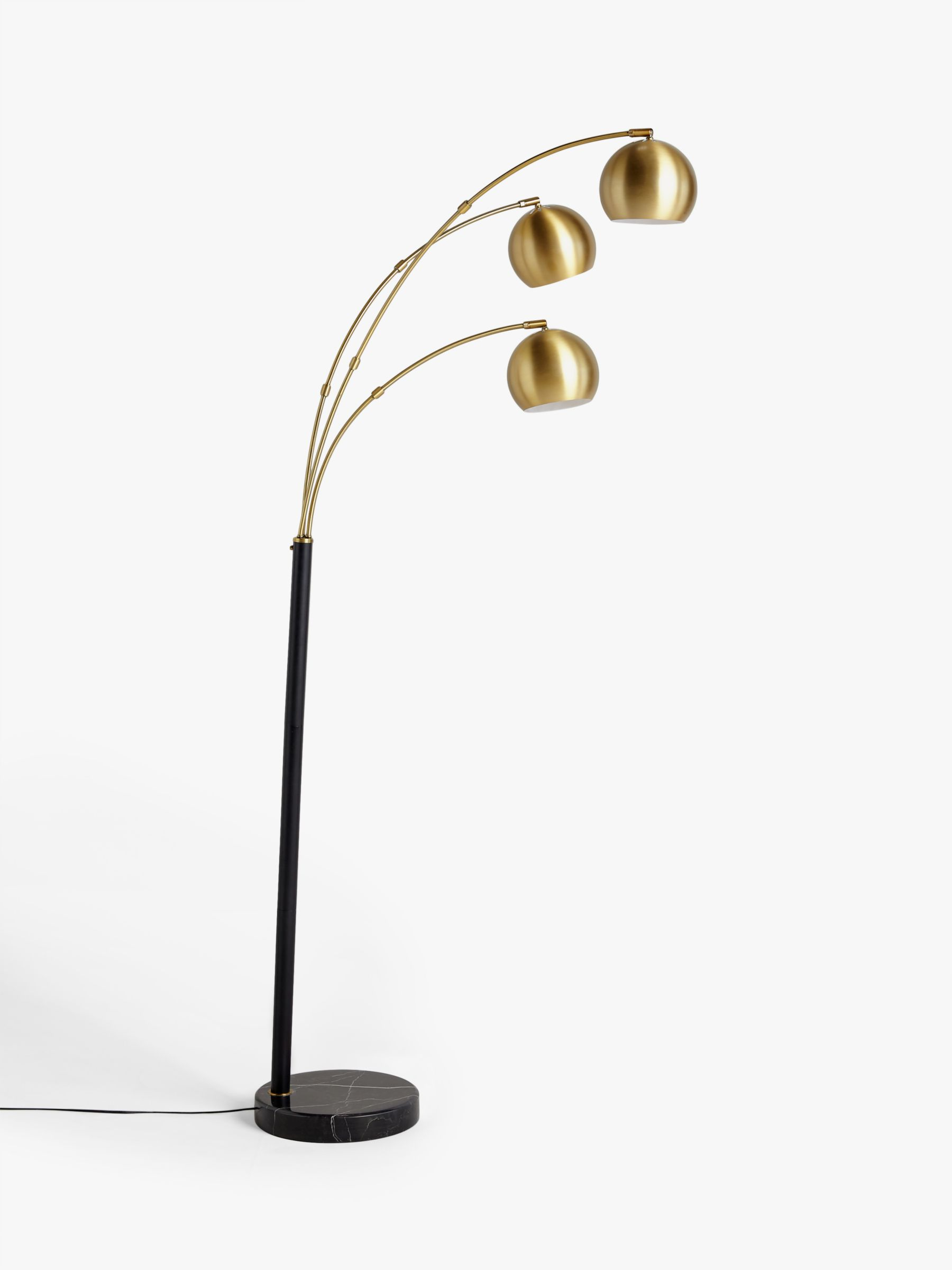John Lewis & Partners Hector 3 Arm Arched Floor Lamp, Antique Brass/Black