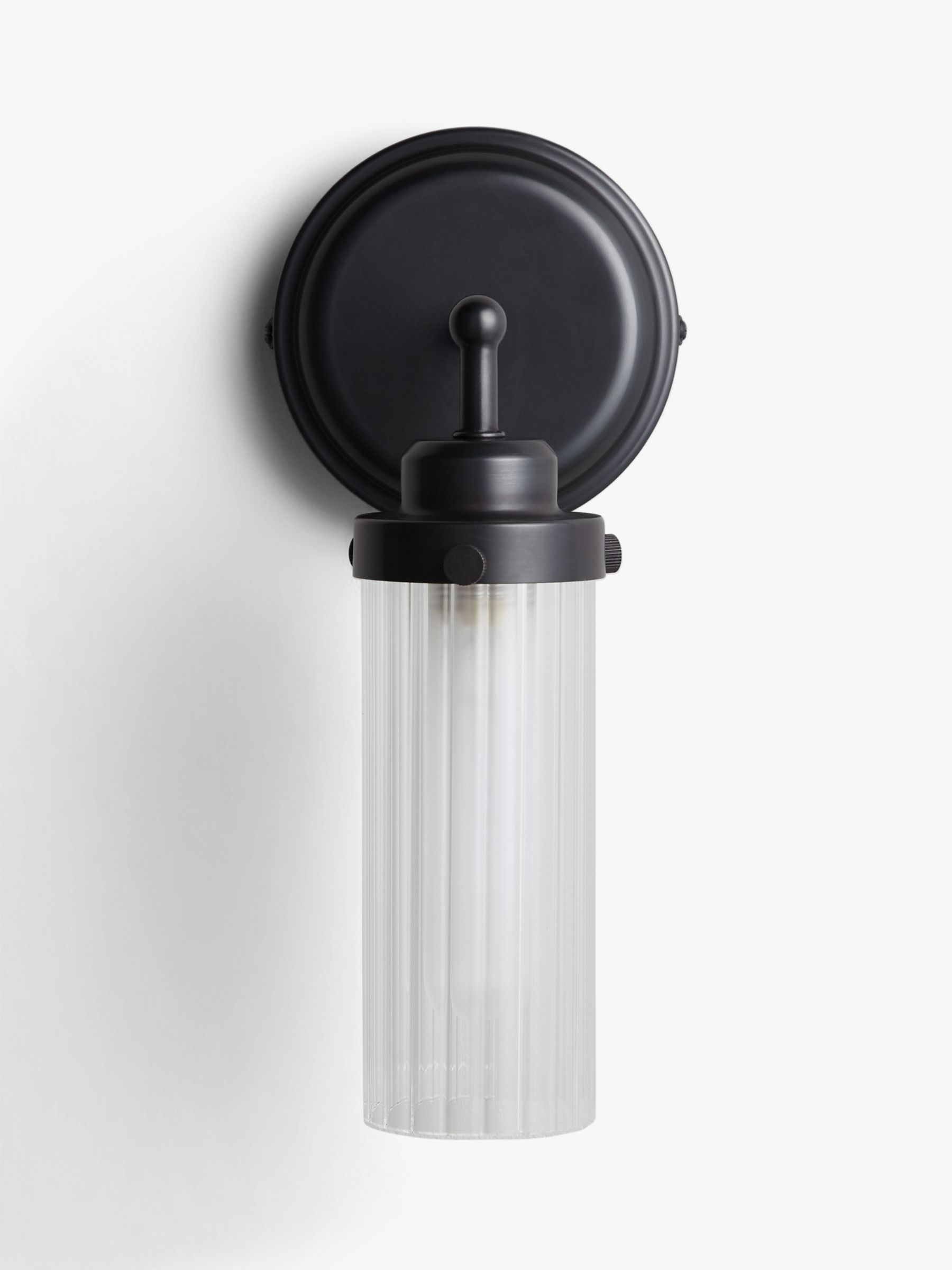 John Lewis & Partners Ribbed Glass Bathroom Wall Light, Black