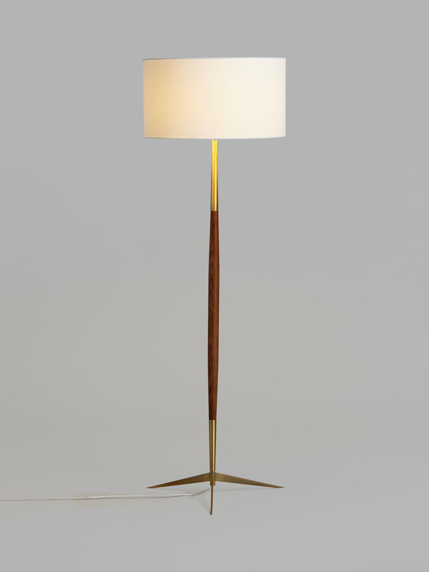 John Lewis Partners Spindle Wooden Floor Lamp Brown Brass At John Lewis Partners