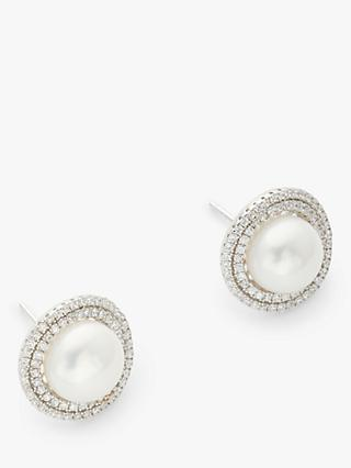 Lido Double Pave Freshwater Pearl Round Stud Earrings, Silver/White