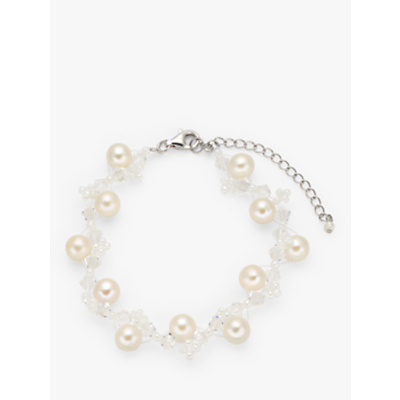 Lido Swarovski Crystal Cubic Zirconia and Pearl Bracelet, Silver/White