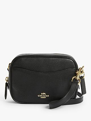Coach Leather Cross Body Camera Bag, Black