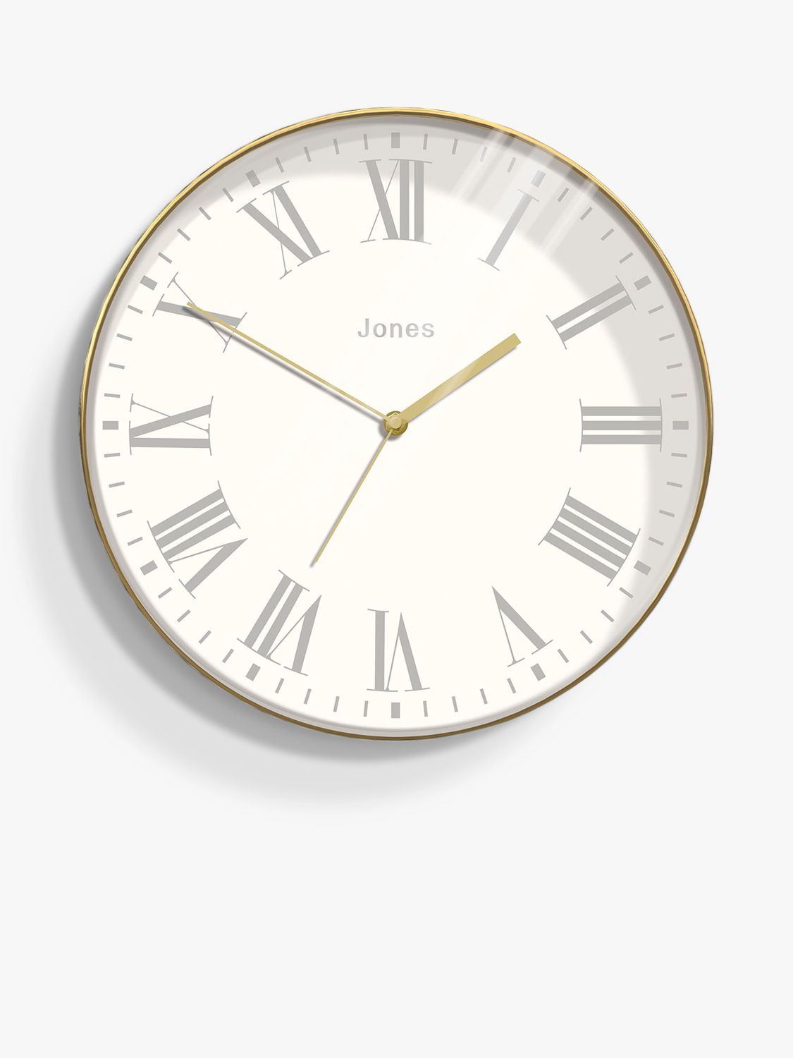 Jones Clocks Jones Magazine Roman Numerals Analogue Wall Clock, 35.5cm, Polished Brass