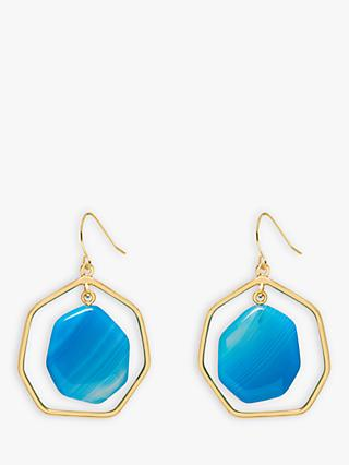 Lola Rose Heptagonal Hook Drop Earrings, Blue Persian Agate