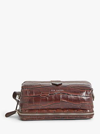 Ted Baker Leather Wash Bag, Dark Tan