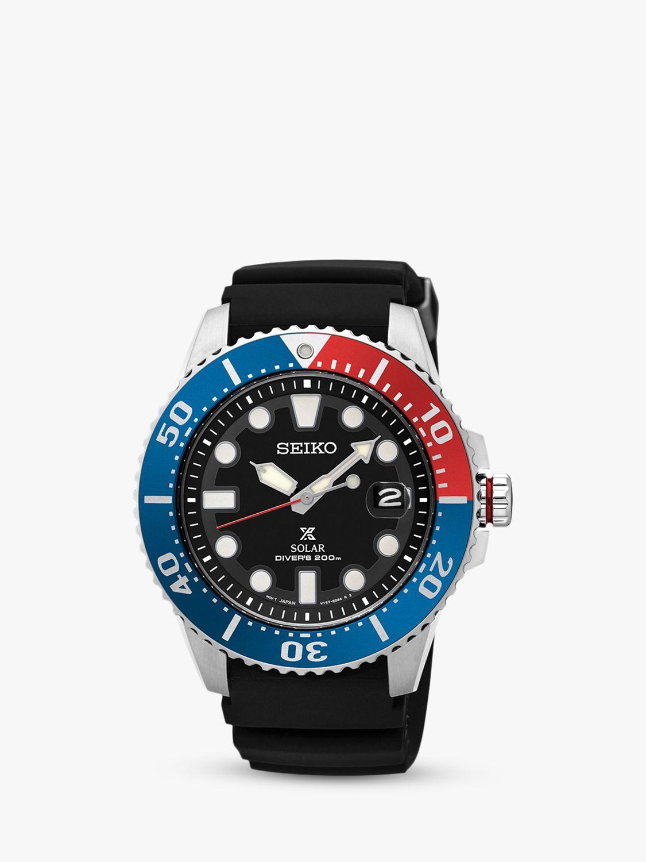 Seiko Seiko SNE439P1 Men's Prospex Divers Solar Date Silicone Strap Watch, Black