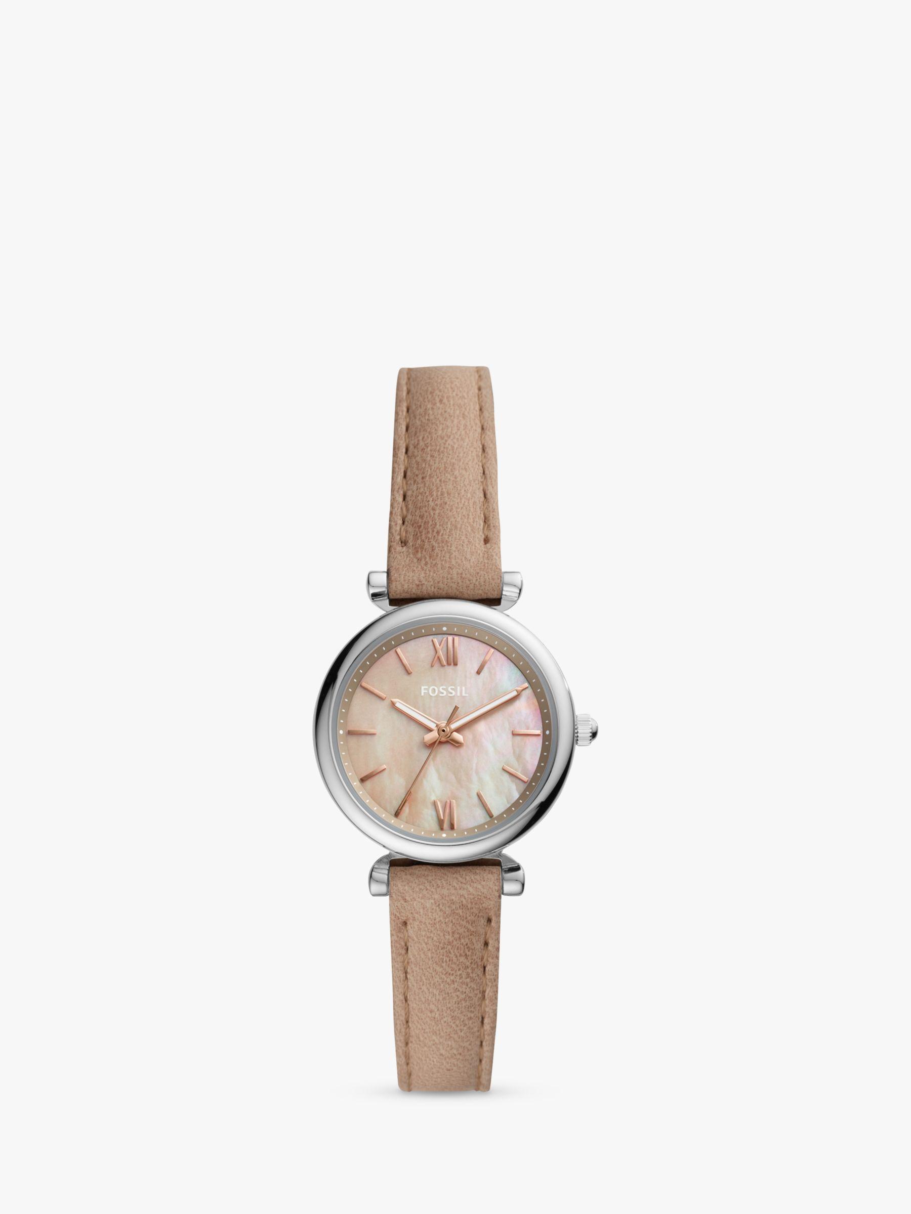 Fossil Fossil ES4530 Women's Carlie Leather Strap Watch, Beige/Pink