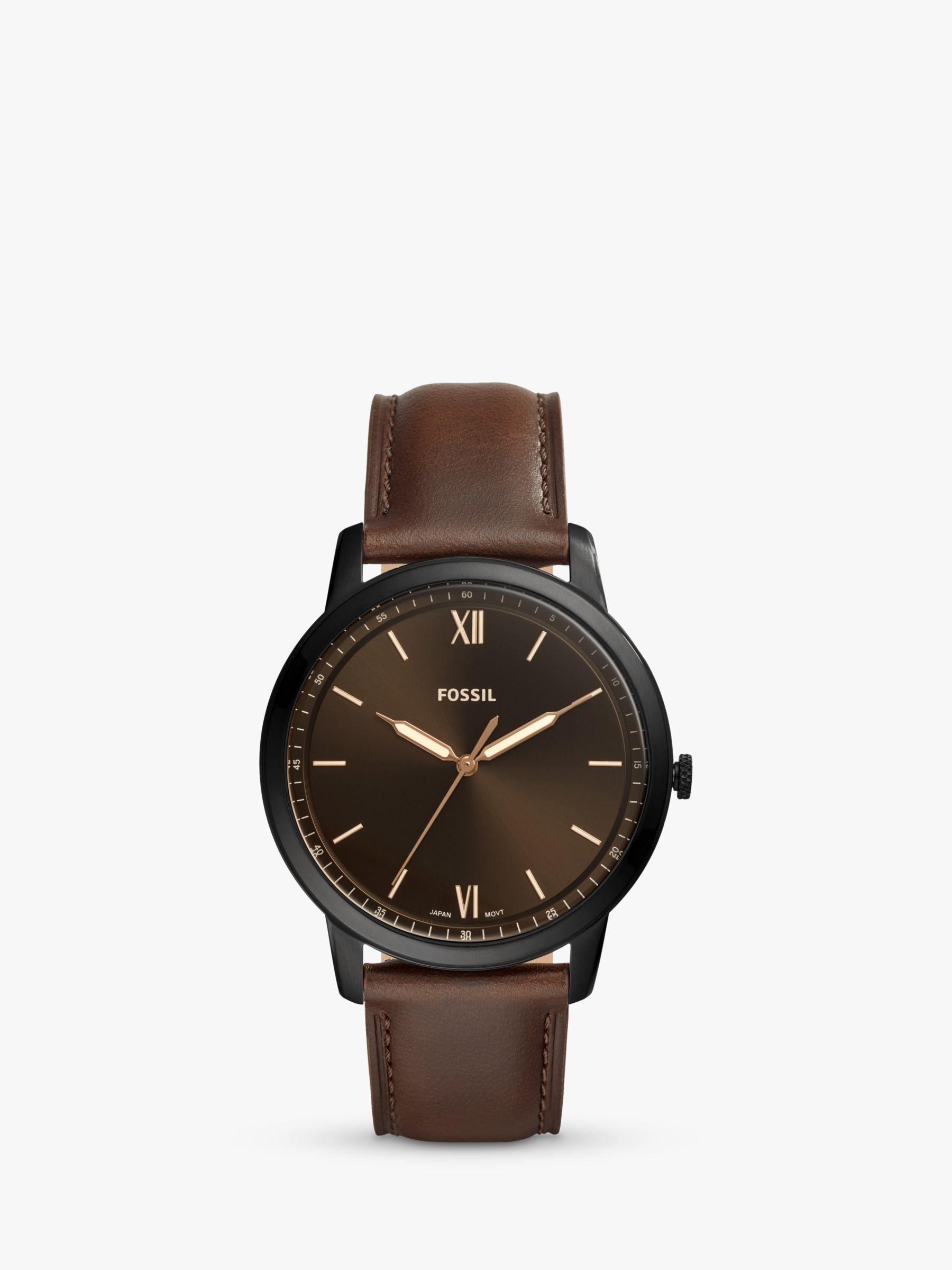 Fossil Fossil FS5551 Men's Minimalist Leather Strap Watch, Brown