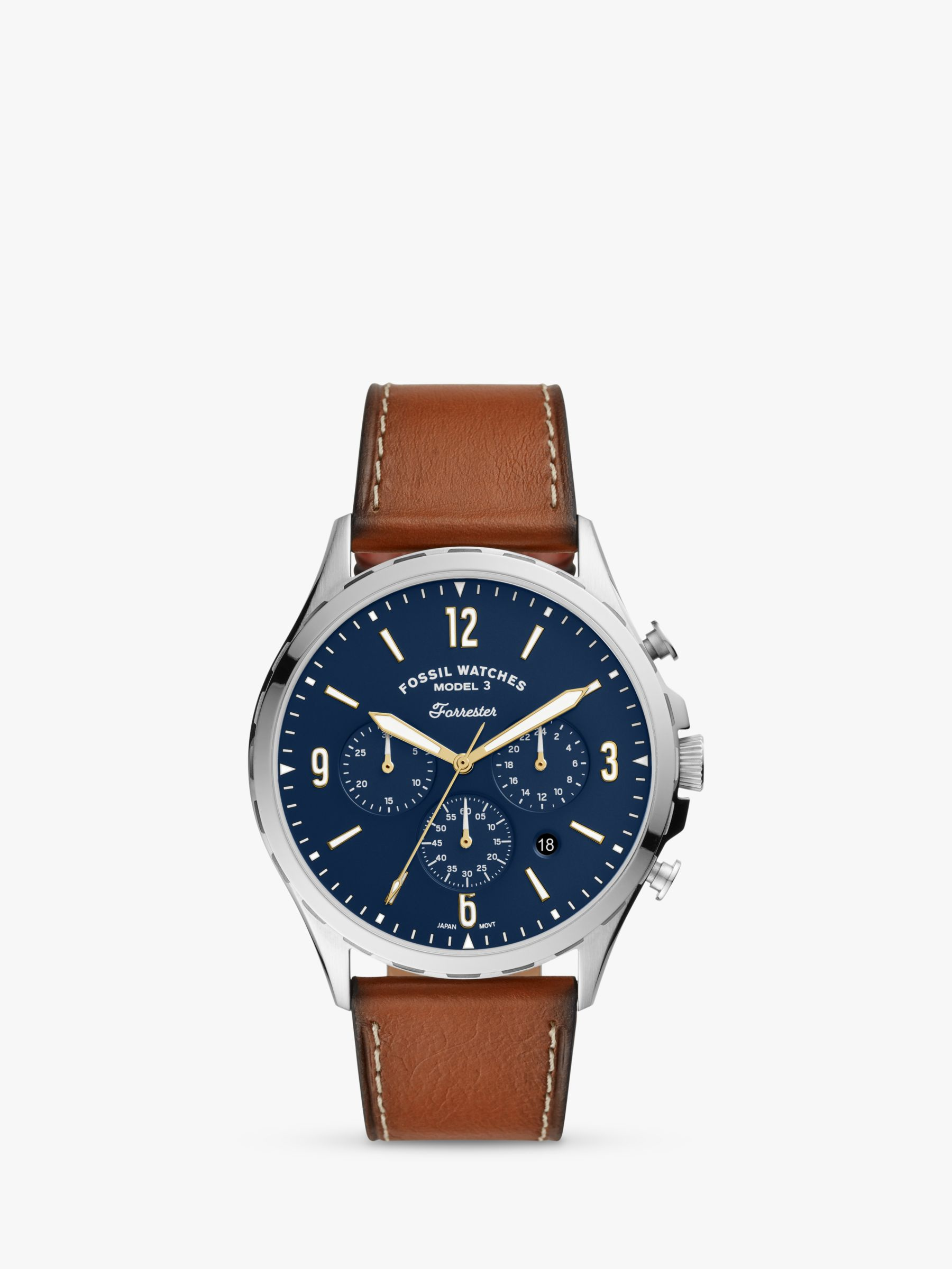 Fossil Fossil Men's Forrester Chronograph Date Leather Strap Watch