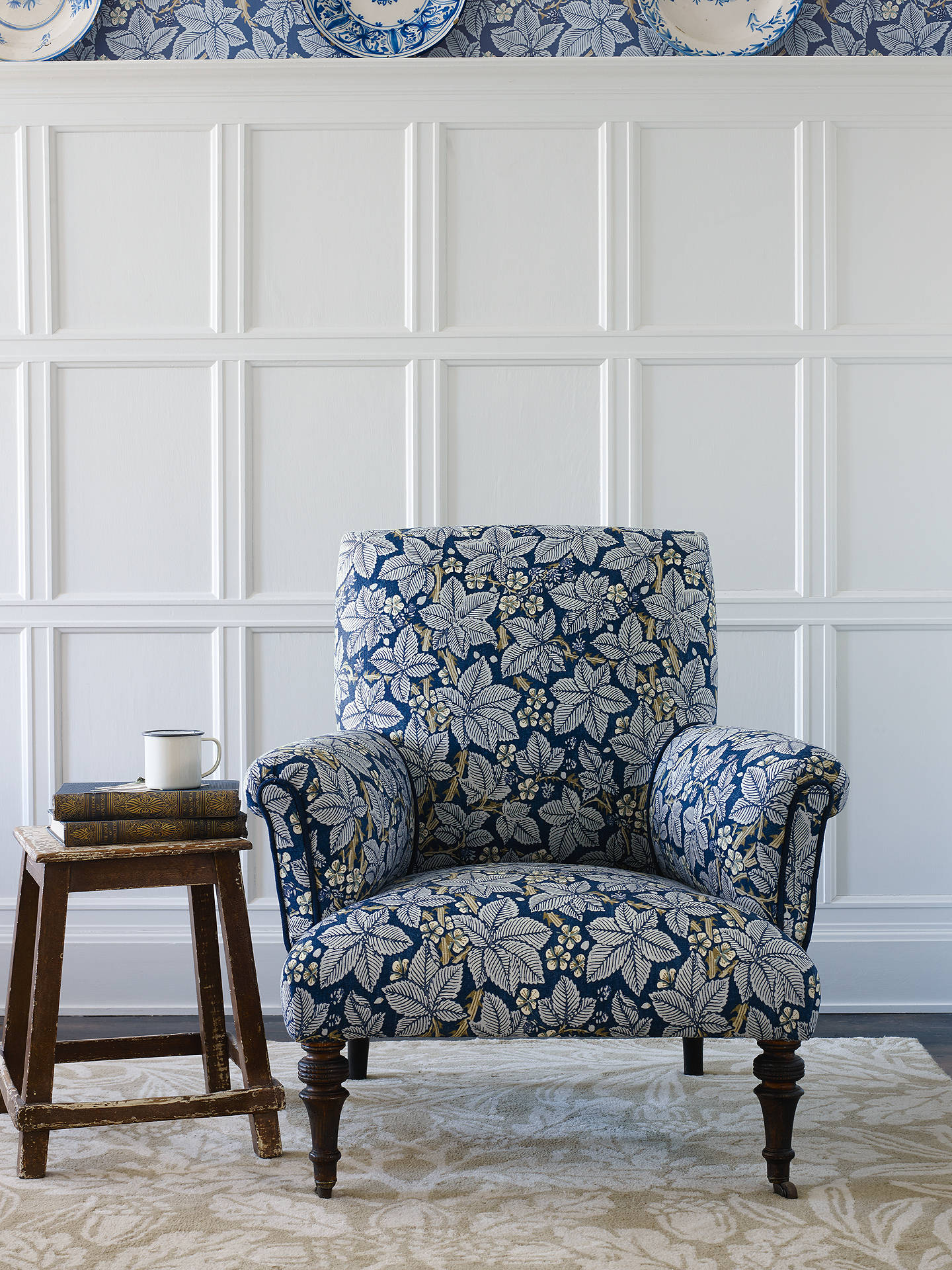Buy Morris & Co. Bramble Furnishing Fabric, Indigo/Mineral Online at johnlewis.com