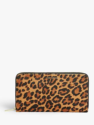 Ted Baker Averyy Leopard Print Leather Purse, Black