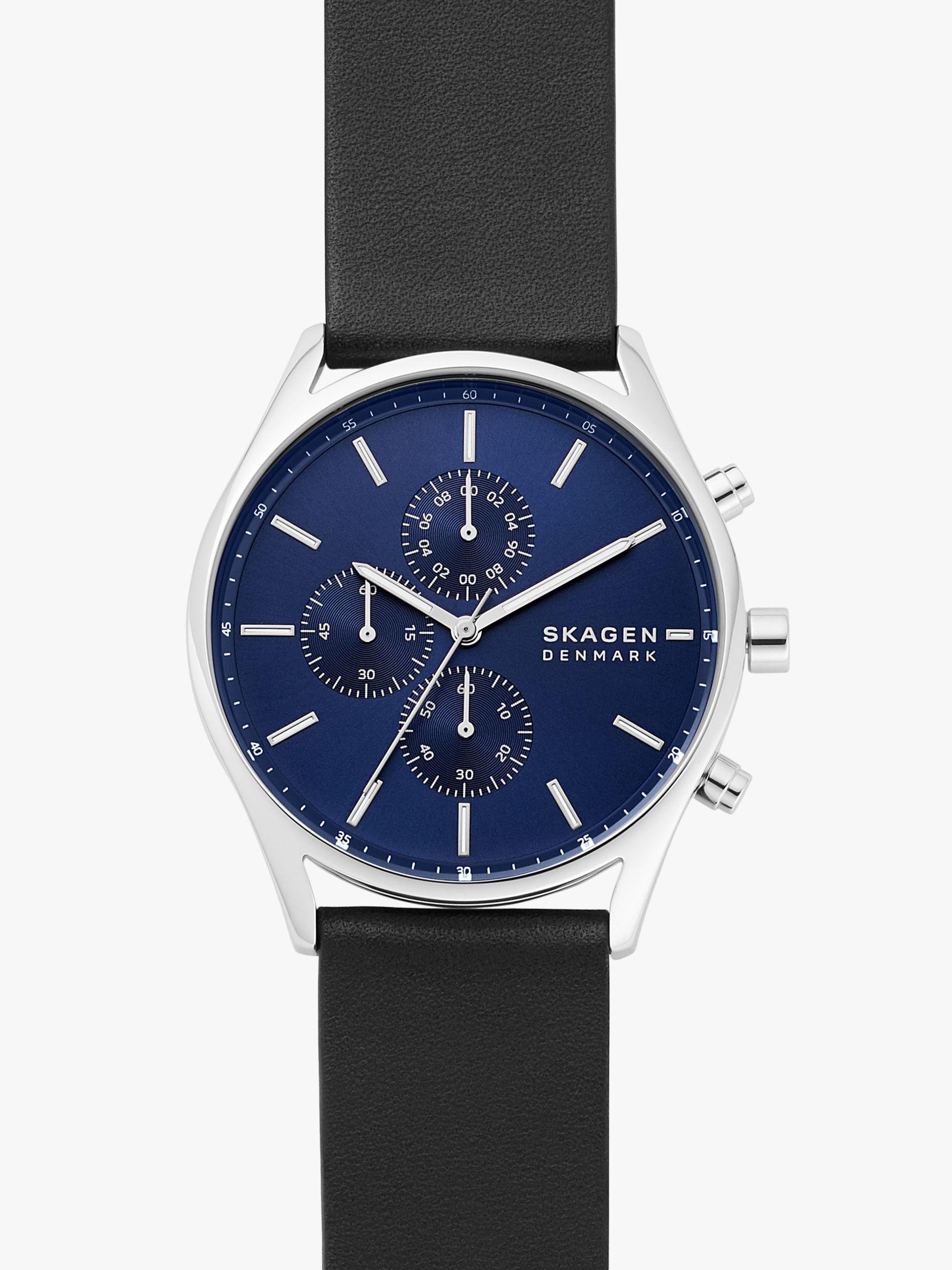 skagen Skagen SKW6606 Men's Holst Chronograph Leather Strap Watch, Black/Blue