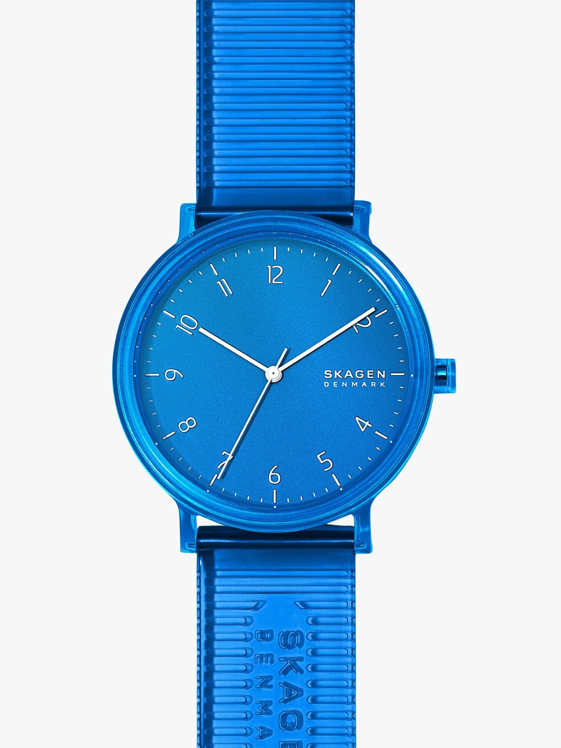 skagen Skagen SKW6602 Men's Aaren Transparent PU Strap Watch, Blue