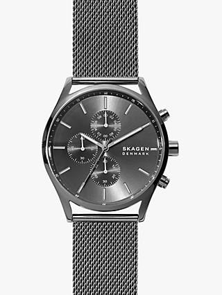 Skagen SKW6608 Men's Holst Sunray Dial Mesh Strap Watch, Black/Gunmetal