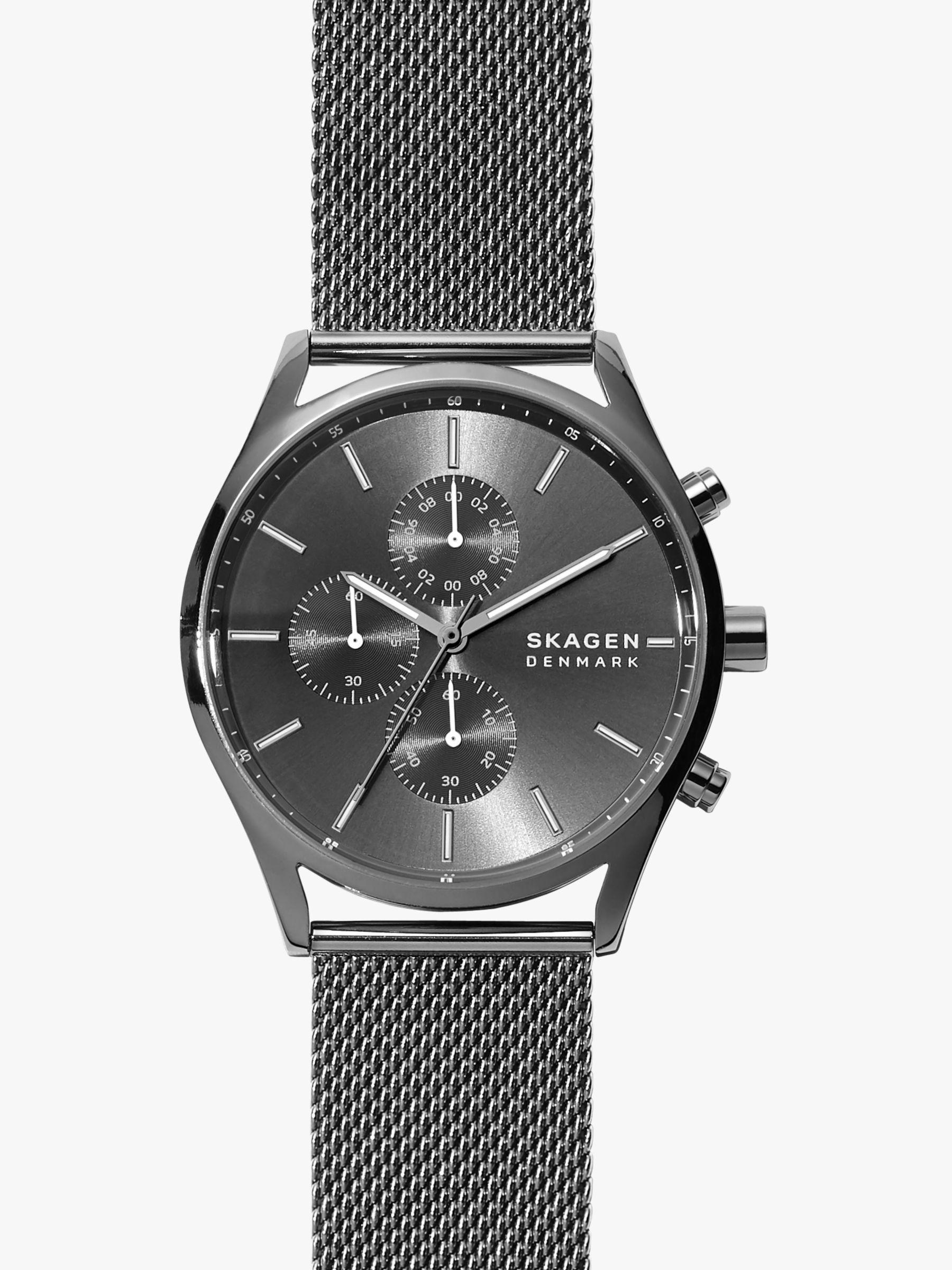 skagen Skagen SKW6608 Men's Holst Sunray Dial Mesh Strap Watch, Black/Gunmetal