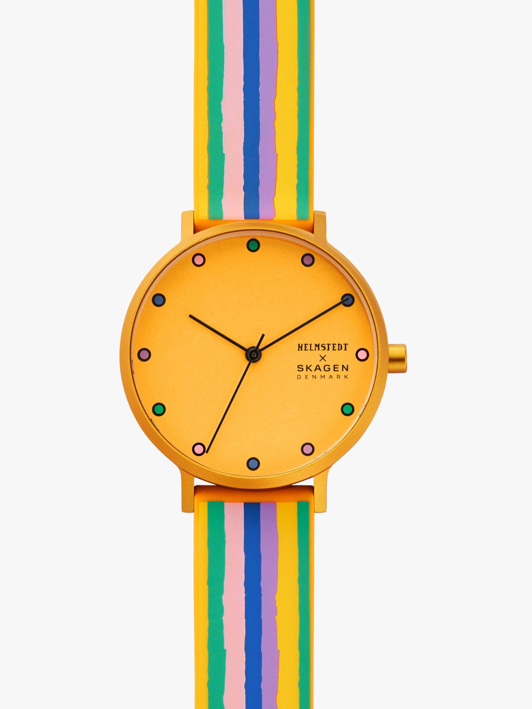 skagen Skagen SKW2893 Women's Aaren Silicone Strap Watch, Multi/Yellow