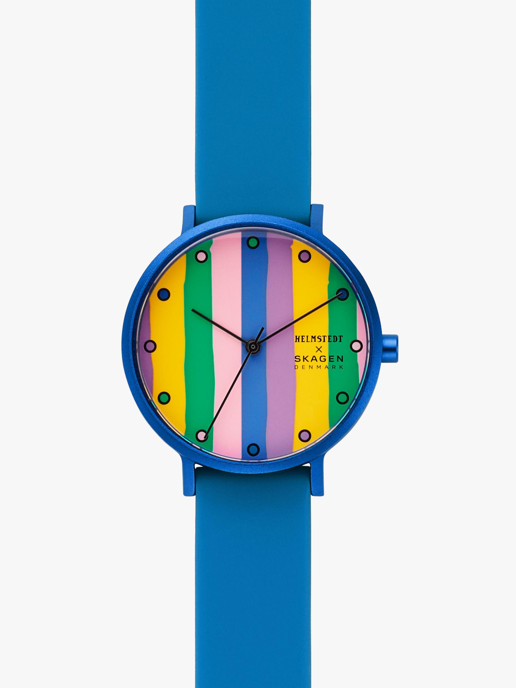skagen Skagen SKW2894 Women's Aaren Silicone Strap Watch, Bright Blue/Multi