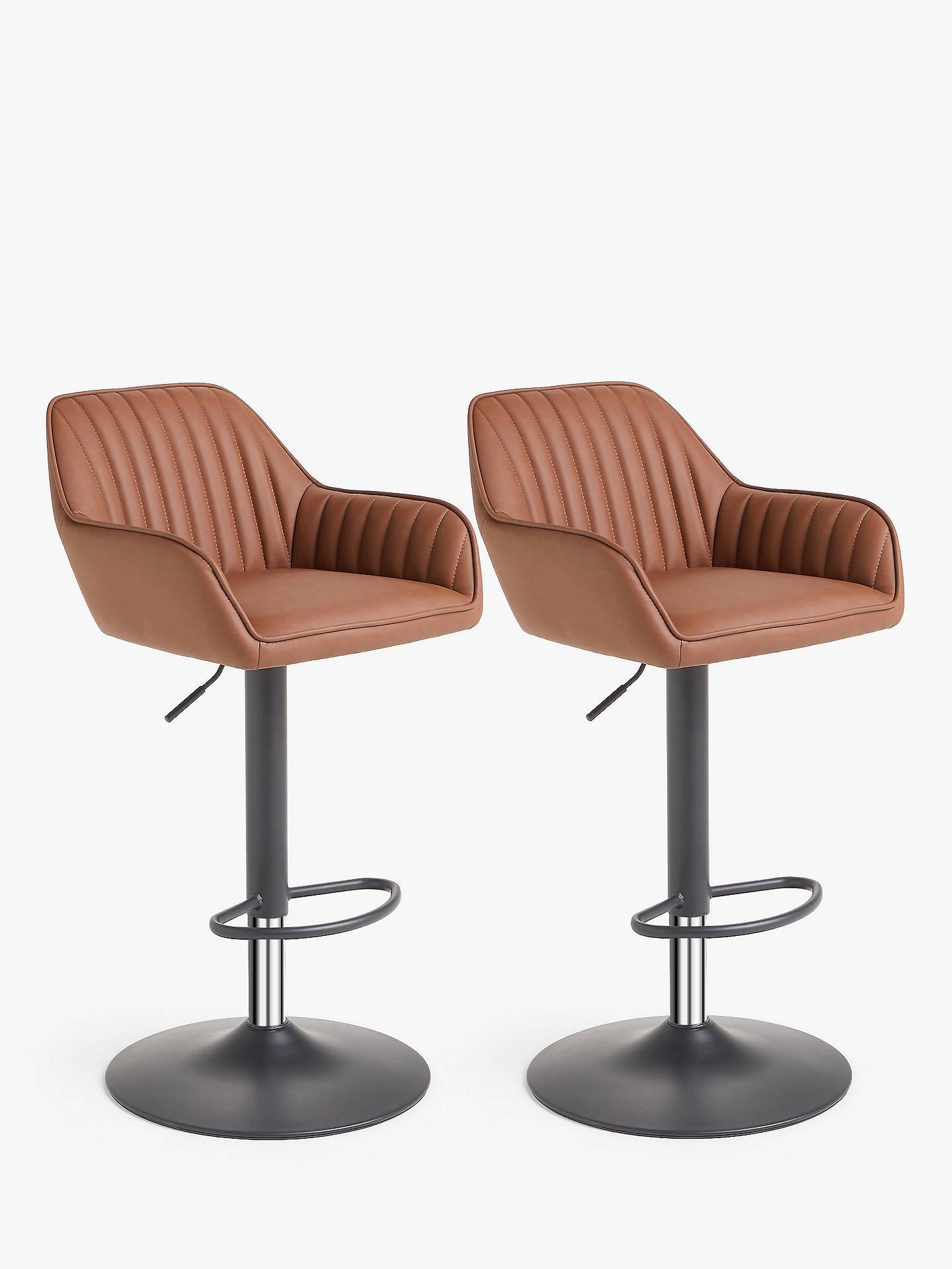 John Lewis & Partners Brooks Gas Lift Adjustable Bar Chairs, Set of 8, Tan