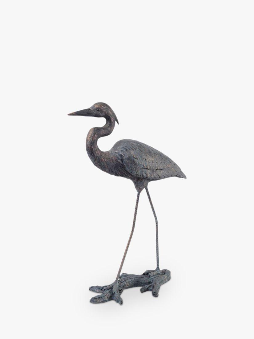 Libra Libra Arched Heron Sculpture, H70.6cm, Verdigris