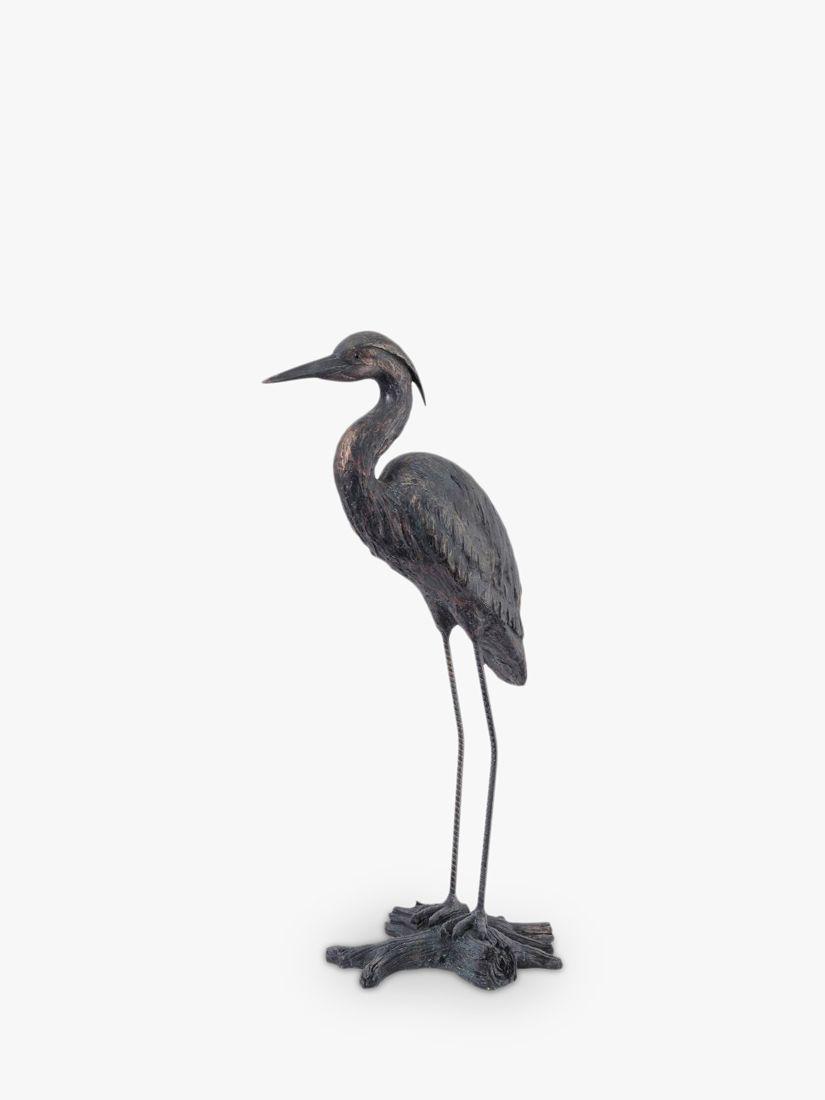 Libra Libra Tall Standing Heron Sculpture, H85.7cm, Verdigris