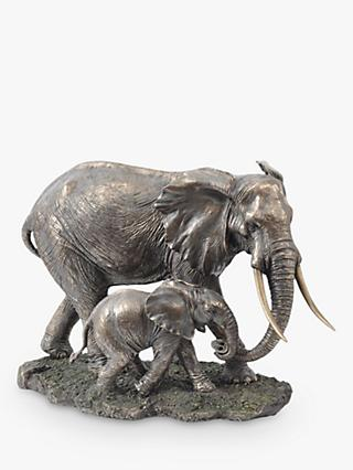 Libra Serengeti Mother and Baby Elephant Sculpture, H28cm, Bronze