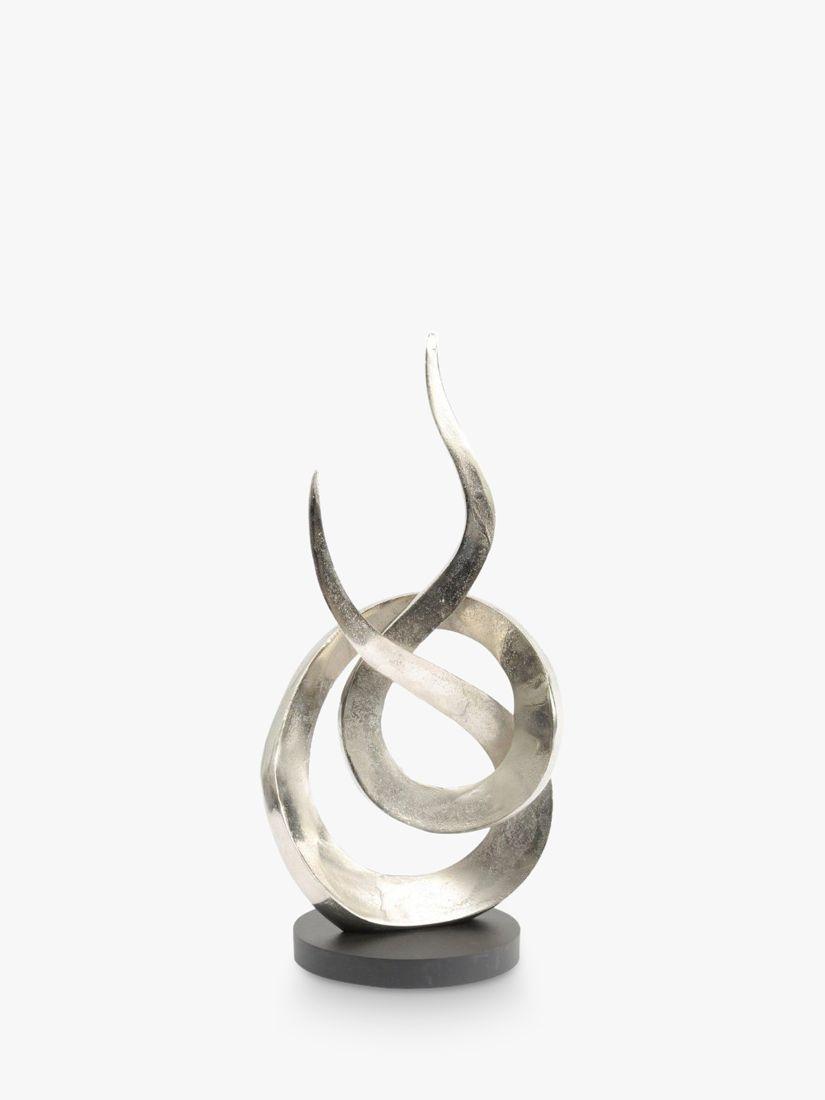 Libra Libra Entwined Flame Metal Sculpture, H59cm, Silver
