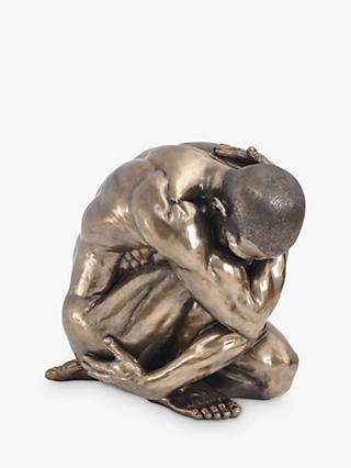 Libra Keswick Male Nude Curled Up Large Sculpture, H45cm, Antique Bronze