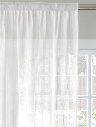 John Lewis & Partners Stitched Stripe Voile Fabric, White