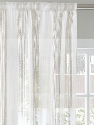 John Lewis & Partners Fine Stripe Voile Fabric, Natural