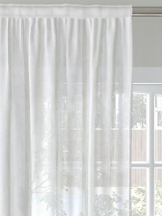 John Lewis & Partners Woven Stripe Voile Fabric, White