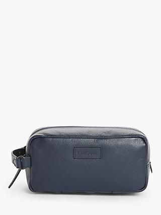 Barbour Compact Leather Wash Bag, Navy